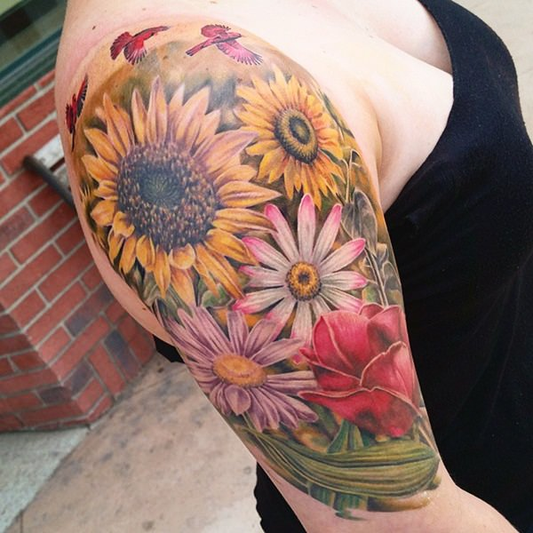 53 sunflower tattoos blossoms seeking out light. Black Bedroom Furniture Sets. Home Design Ideas